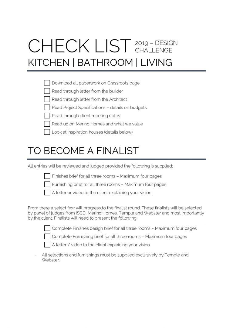 Design brief, ISCD design challenge, Merino homes design challenge, Merino Experience, check list for deigning a home